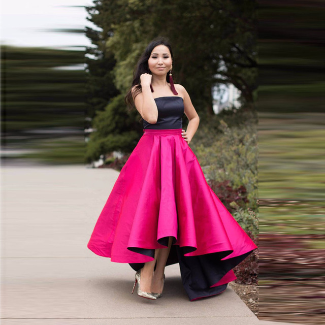 Fucsia con color negro alto bajo prom vestidos de moda barato larga ...