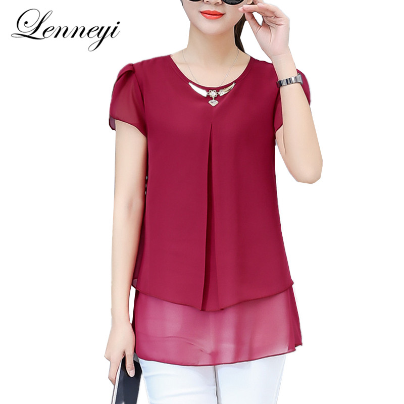 Korean Women Tops 4XL Blouses 2019 New Spring Chiffon Short Sleeve Blouse  Shirts Women s Casual Plus 4757317c65c3
