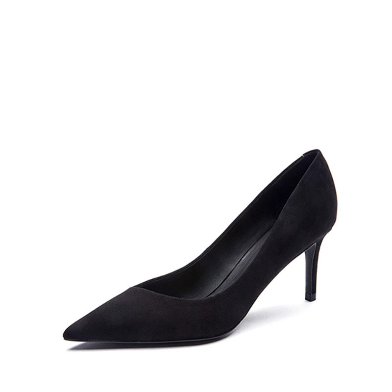 ФОТО Hot social shoes OL black sheep sheep suede Jing oblique mouth pointed stilettos with autumn ladies shoes