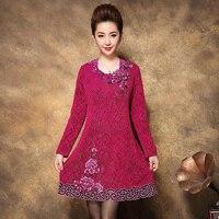 2017 חורף סתיו חדש משלוח חינם גבוהה אמא של שמלת יוקרה רקום אמצע גיל חגיגי נשים בגדי עבודת אופנה בתוספת גודל אדום