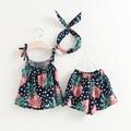 Sweet Baby Girls Ropa de Verano Establece Tops + Shorts + Headband 3 unids trajes Niño Niños de La Muchacha Floral Impreso Algodón Sistemas de la ropa