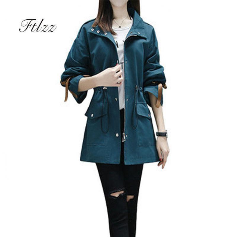 New 2019 Women Casual   Trench   Coats Casaco Feminino Spring Autumn Long Sleeved Hooded Medium Long Windbreaker Female Coat Mujer