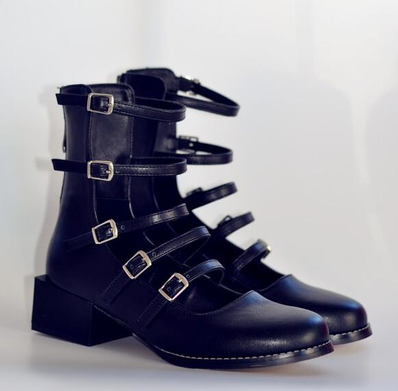 Round Toe Thin Ankle Buckles Women Martin Boots Smooth Black Leather Ladies Med Heel Ankle Boots Zipper Back Female Knight Boots black smooth leather women peep toe boots sexy cut out ladies high heel boots ankle buckles knight style female fashion boots