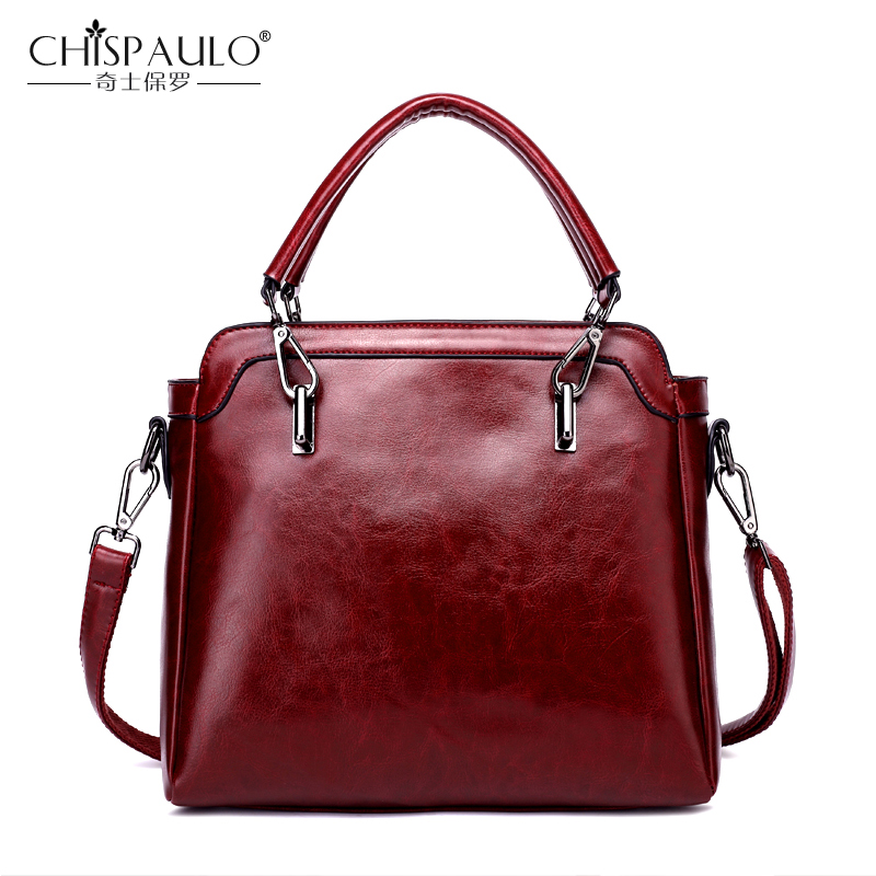 цены Chispaulo Brand Women Handbag High Quality Oil Wax Leather Ladies shoulder Bags Vintage Female Bags