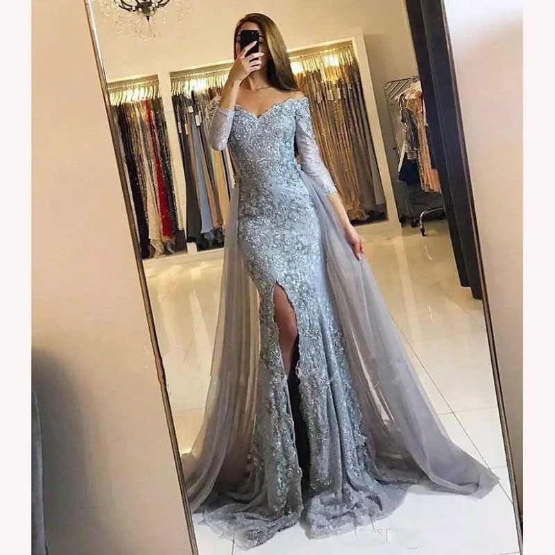 avondjurken 2018 Silver Black Lace   Evening     Dress   Long Mermaid with Train High Split Saudi Arabic Women Formal Prom   Evening   Gown