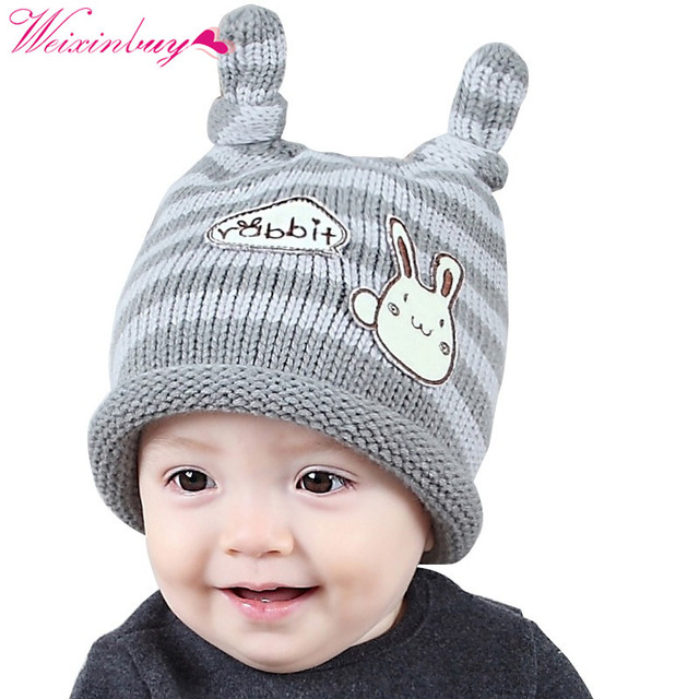 f88ca3f041a 2018 Korean knotted bunny cap autumn and winter hat baby wool hat ear knit hat  new