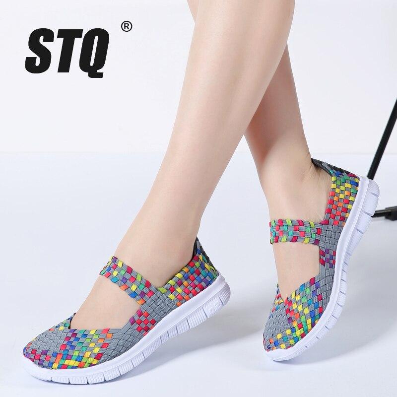 Stq 2020 verão respirável sandálias femininas sapatos apartamentos luz plana mocassins sapatos baratos caminhada apartamentos feitos à mão sapatos de tecido 599
