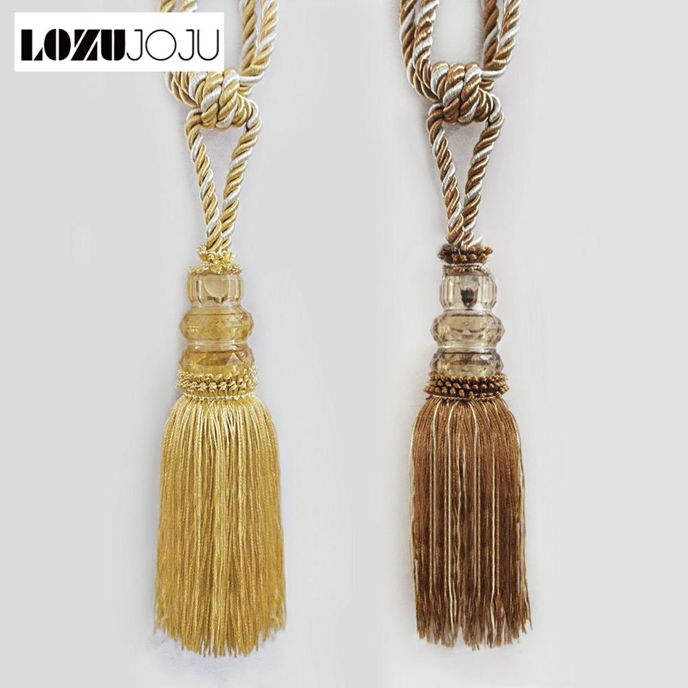2PC Big Leaf Curtain Tie Back Hold Backs Holder Brass Tassel Hooks Gold Bronze