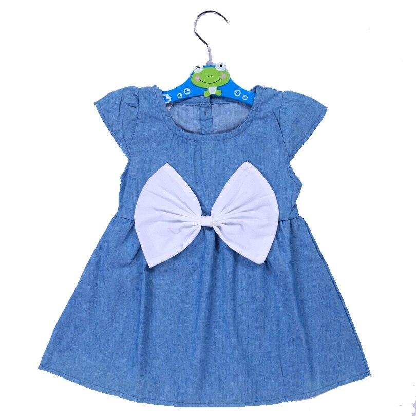 Baby Girl Kids Newborn Toddler Infant Big Bowknot Denim Dress Tops Outfit Dress