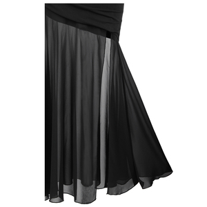 Image 5 - Angel fashions Womens One Shoulder Pleated Evening Dress Long Little Black Dresses Slit Illusion Formal Party Gown 426