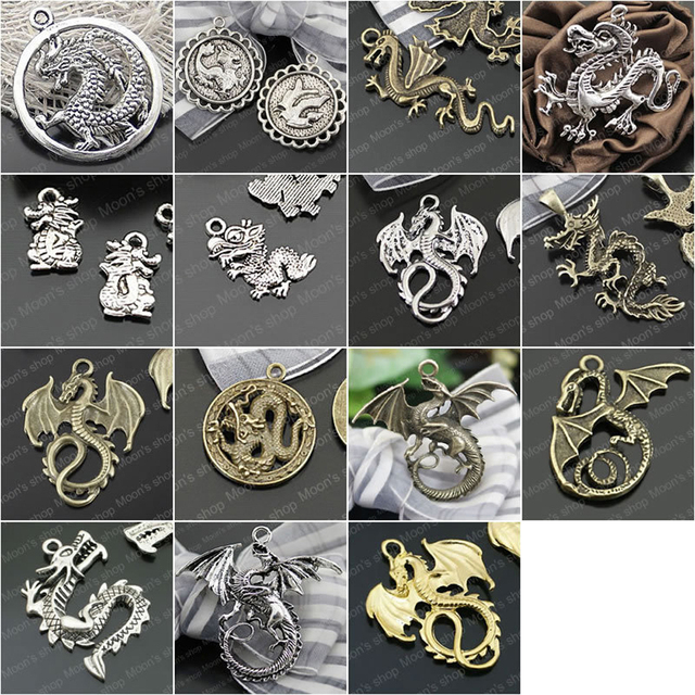 Wholesale height15 45mm 3 colors chinese western dragons alloy wholesale height15 45mm 3 colors chinese western dragons alloy charms pendants randomly aloadofball Choice Image