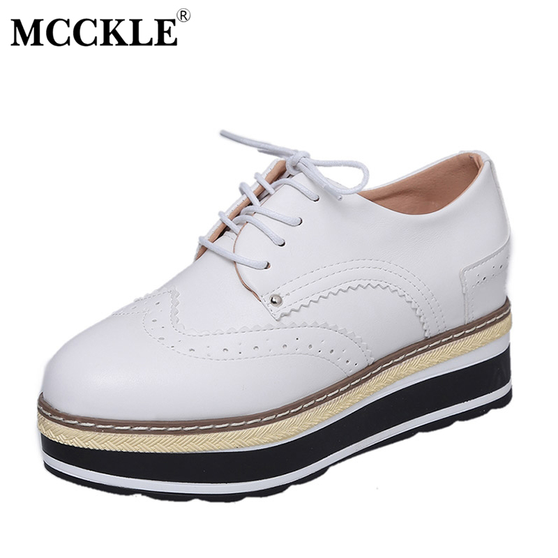 MCCKLE Spring New Fashion Ladies Flat Platform Shoes Women's Casuals Leather Flat Woman Lace-up Black Comfortable Female Shoes mcckle 2017 fashion woman shoes flat women platform round toe lace up ladies office black casual comfortable spring