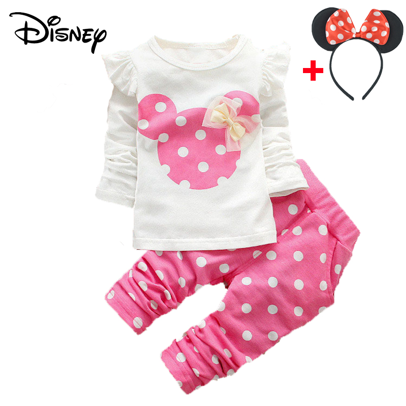 Disney Mickey Minnie Frozen Baby Clothes Set Long Sleeved Wave Point T-shirts Tops Pant Outfits Kids Bebes Jogging Suits Vestido Clothing Sets Boys' Clothing