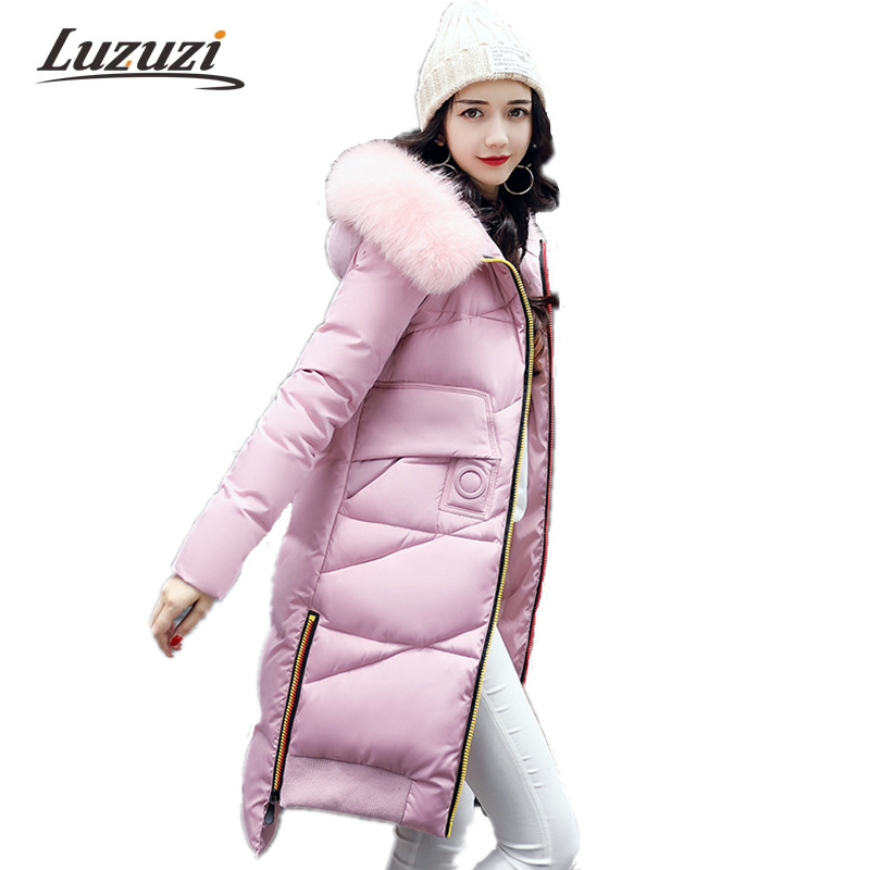 2017 Women Jackets Winter Coats For Female Plus Size Army green Hooded Fur Collar Knee Length Wadded Parkas Cotton Parkas W1003 women winter army green jacket coats thick parkas plus size fur collar hooded cotton outwear winter jackets women 6 colors c1690