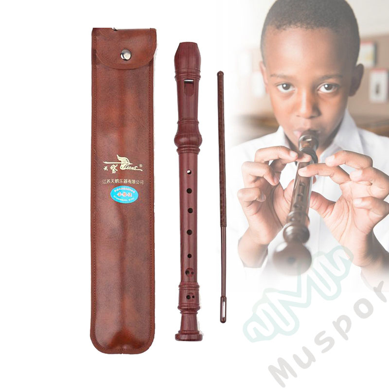 Germany-Type 8 Holes Soprano Recorder Flute Woodwind Instruments Reed Pipe C Tune Wood-like Plastic Flute