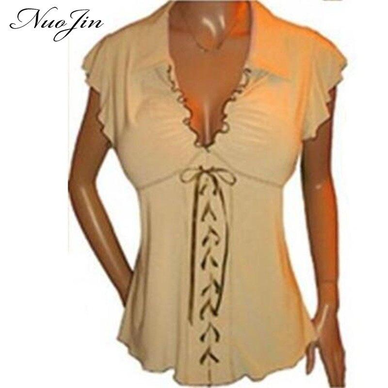 NuoJin Camisa de La Blusa de Las Mujeres Más el Tamaño 5XL Verano Gasa de Las Colmenas blusa de Mujer de Manga Corta V cuello de Encaje hasta Camisetas Tops vestidos