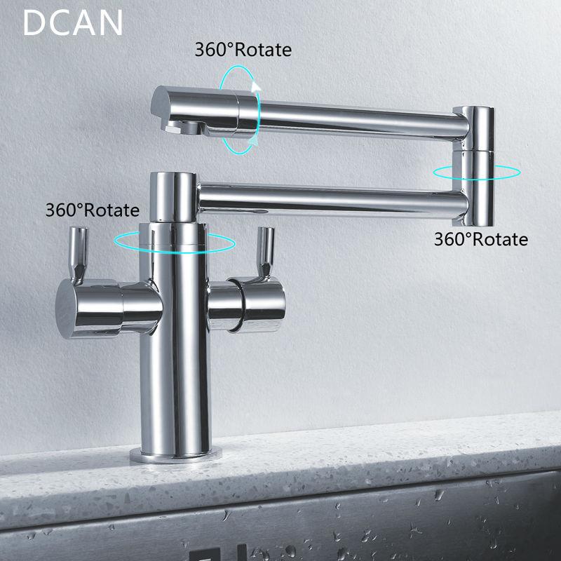 DCAN robinets de cuisine robinets d'évier de cuisine double poignée mélangeur robinet Chrome finition Pot de remplissage robinet 100% laiton robinet pliant - 2