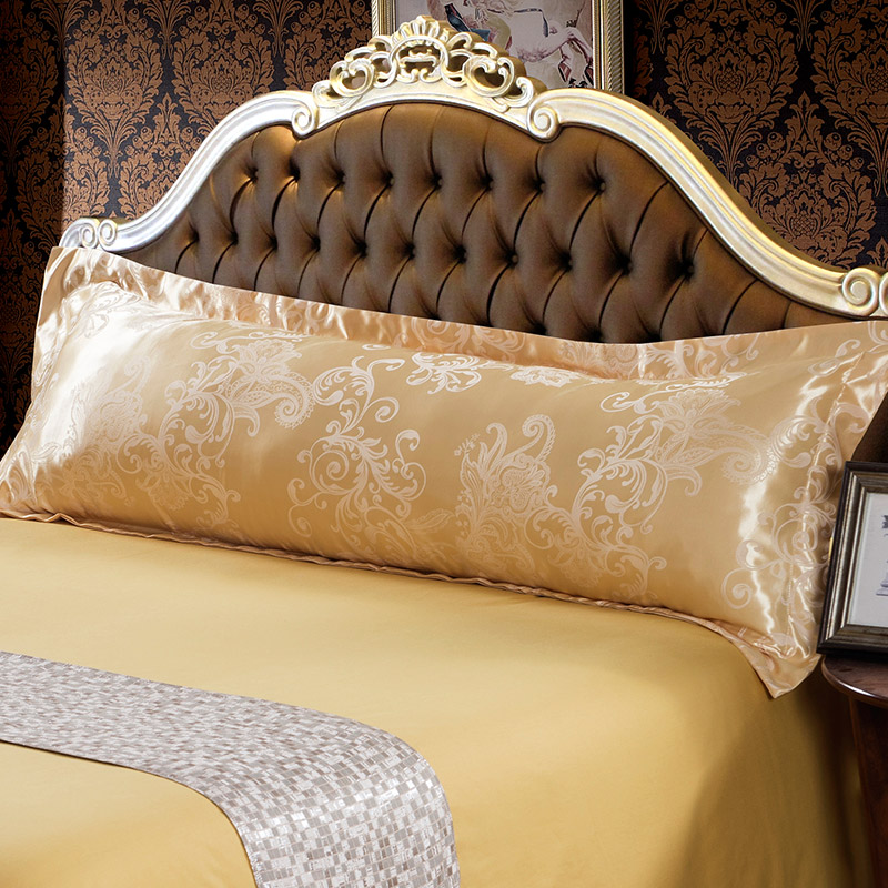 1PC Large Pure Silk Satin Jacquard Pillowcase Soft Silk