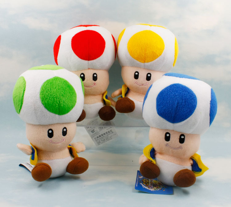 17cm Super Mario Bros Toad Mushroom Blue Red Green Yellow 4 Color Super Mario Plush Doll Toys super mario bros plush green shell backpack bag purse cosplay super funny and cool rare