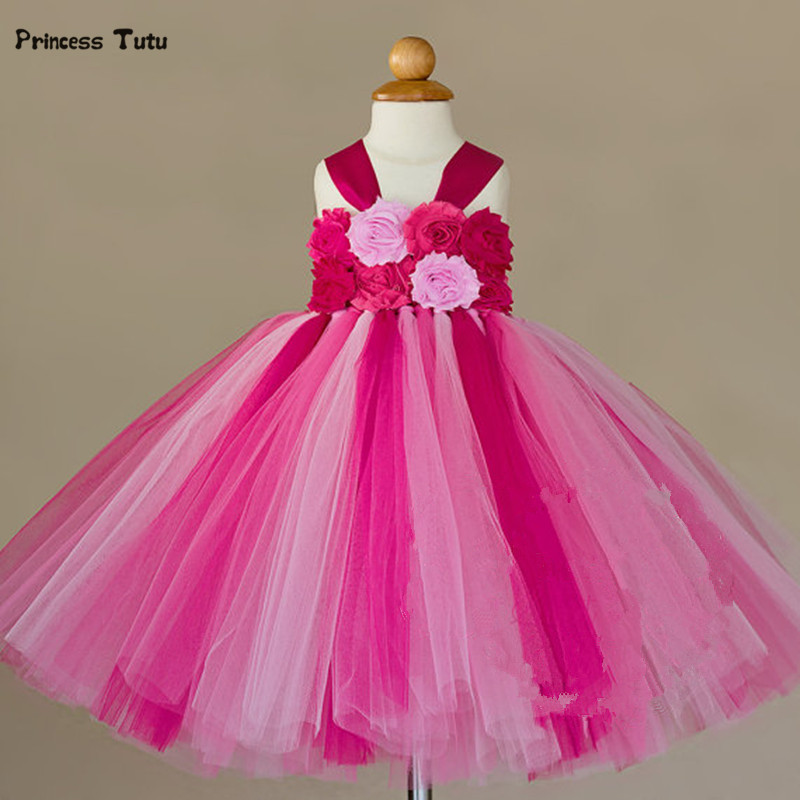 Handmade Girls Tutu Dress Flower Girl Dresses Halloween Costume Children Kids Tulle Dress For Pageant Party Prom Photo Vestidos children girl tutu dress super hero girl halloween costume kids summer tutu dress party photography girl clothing