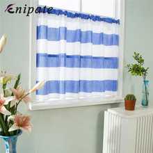 Enipate 1PC Roman Striped Curtain Rod Pocket Half Short Window Valance Sheer Voile for Cafe Kitchen Curtains