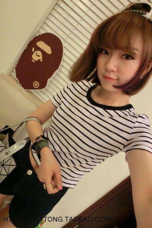 HTB1ChbbLXXXXXadaXXXq6xXFXXXO - New Women T shirt Sexy Crop Tops Striped Short Sleeved