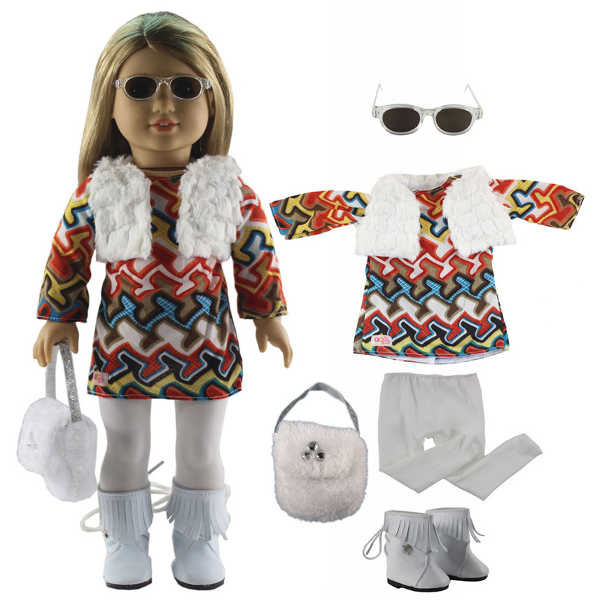 New 6 PCS Doll Clothes+1 Pairs Glasses+1 Pairs Boots+1 Bag+1 Tights for 18 Inch American Girl Bitty Baby Doll X96 american girl doll clothes 4 styles elsa blue lace princess dress doll clothes for 16 18 inch dolls baby doll accessories x 2