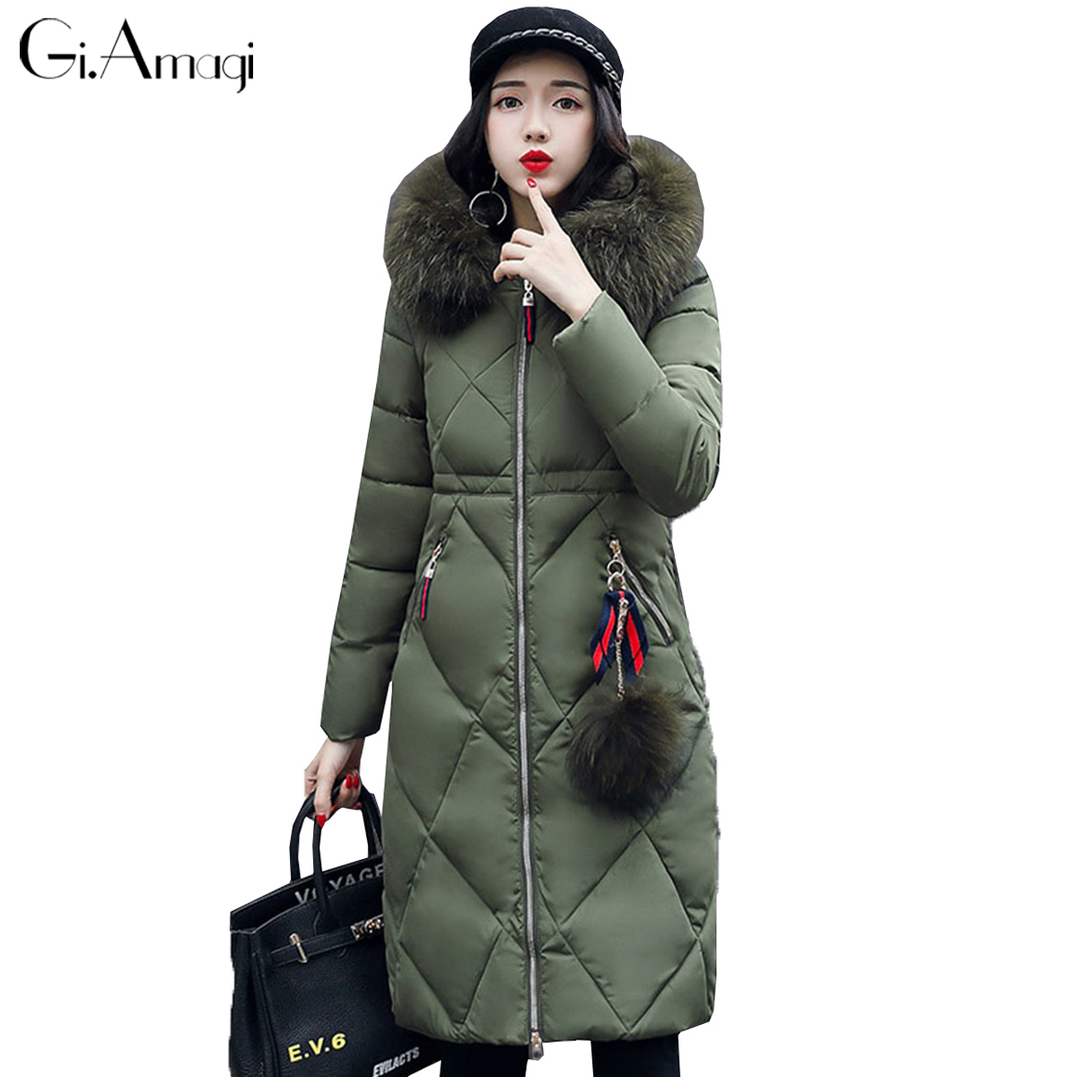Large Fur Collar Winter Jacket Women 2017 New Long Hooded Parka Coat Women Cotton-padded Thicken Warm Jacket Female Plus Size 2017 new winter jacket women parka large fur collar hooded thicken coat slim medium long cotton padded big pocket warm parkas