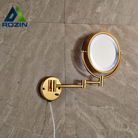 Golden Bathroom LED Cosmetic Mirror In Wall Girl Lady Women Beauty Make Up Cosmetic Dual Side