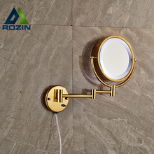 Golden Bathroom LED Cosmetic Mirror In-wall Girl Lady Women Beauty Make up Cosmetic Dual Side LED Magnifying Stand Mirror