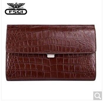 fasiqi Crocodile Leather man handbag large-volume hand bag men's leather envelope bag business hand bag can install ipad