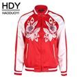 Hdy haoduoyi moda floral bordado abrigos mujer de manga larga mujer cremalleras outwear rojo o-cuello ocasional cazadoras