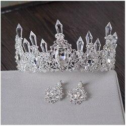 Чистая ледяная Королева Корона Тиара Ретро Тиара для свадебной прически украшения банкетные вечерние аксессуары для волос