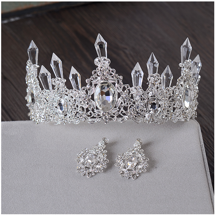 Clear Ice Queen Crown Tiara Retro Bridal Hair Tiara Jewelry Banquet