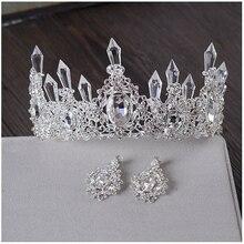 Hielo transparente Reina Tiara de La Corona Retro Joyería Del Partido Del Banquete Nupcial Pelo Tiara Accesorios Para el Cabello