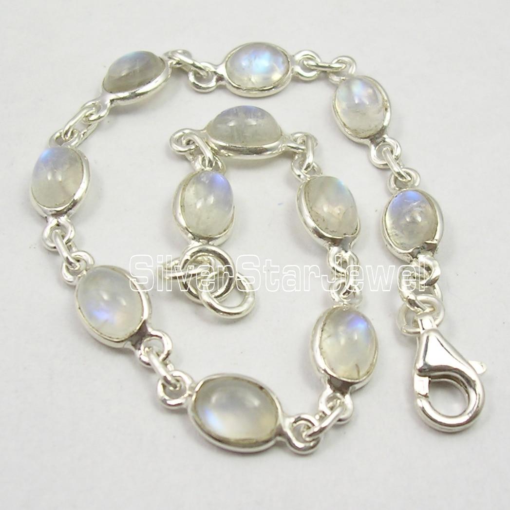 Chanti International Silver Fiery RAINBOW MOONSTONE Cute Delicate Bracelet 7.5