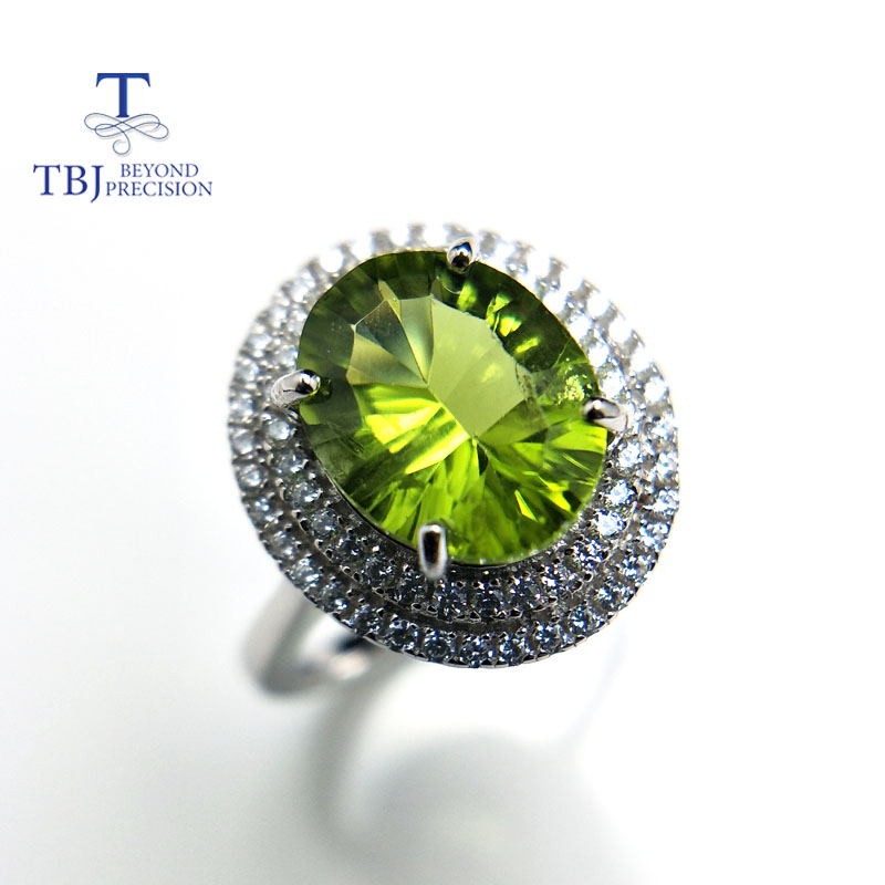 Tbj,100% Natural Peridot ov8*10 concave cut ,3ct peridot gemstone ring in 925 sterling silver colorstone jewelry with gift box