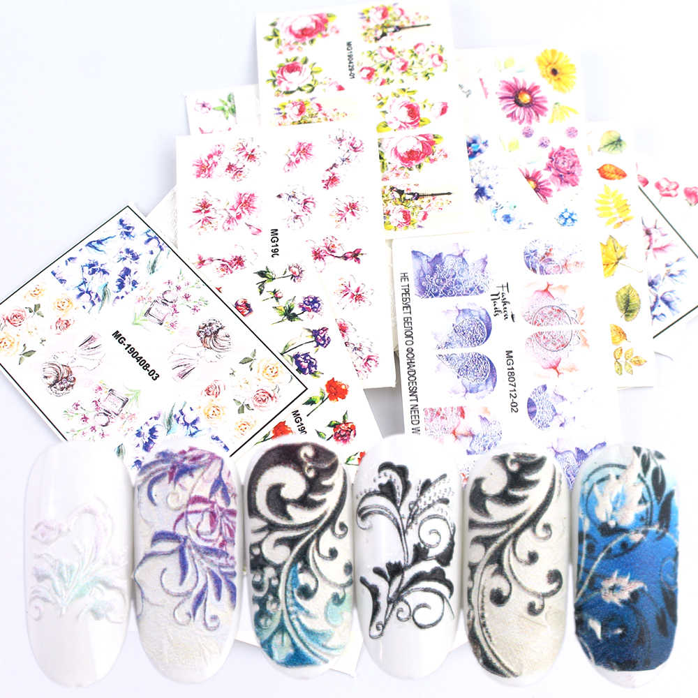 1 pcs 3D Nail Sticker Acryl Gegraveerde Bloem Decal DIY Manicure Tips Decoratie Fashion Nail Art Decoratie Sliders