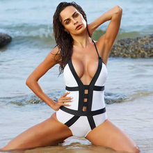 Babatique Sexy Hollow Out Summer Beach Bandage Bodysuit Women Halter Black With White