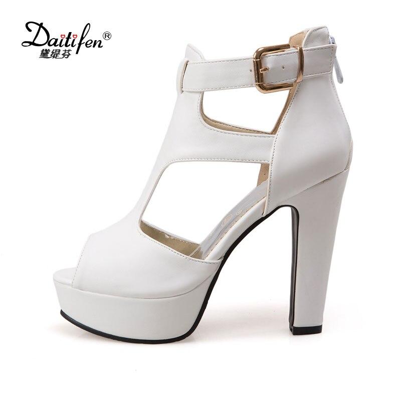 Daitifen Mature Peep Toe Platform Sandals Ladies Summer -5378