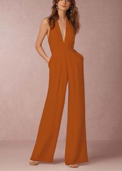 2019 New Fashion Womens Sexy Deep V-Neck Backless Halter Wide Leg Pant Jumpsuits Sleeveless Long Romper formal Playsuit цена 2017