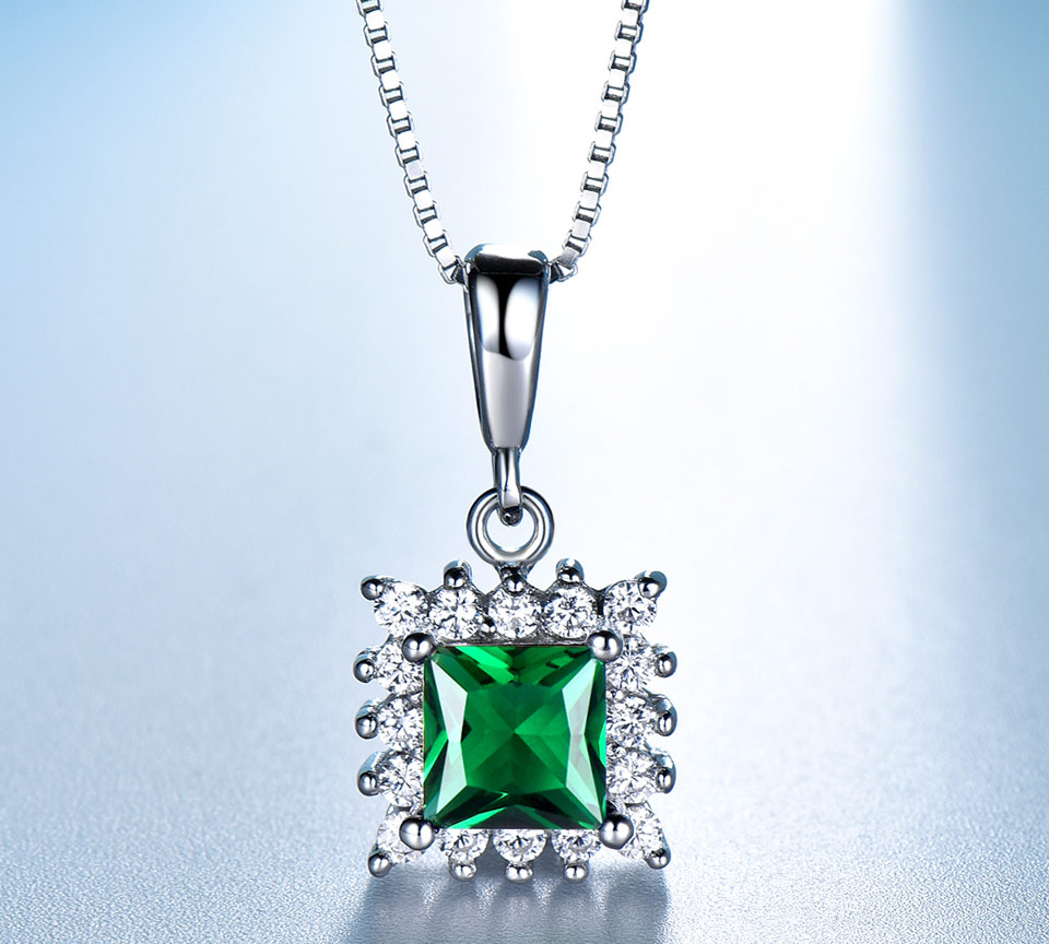 UMCHO Emerald 925 sterling silver jewelry set for women S019E-1 (3)