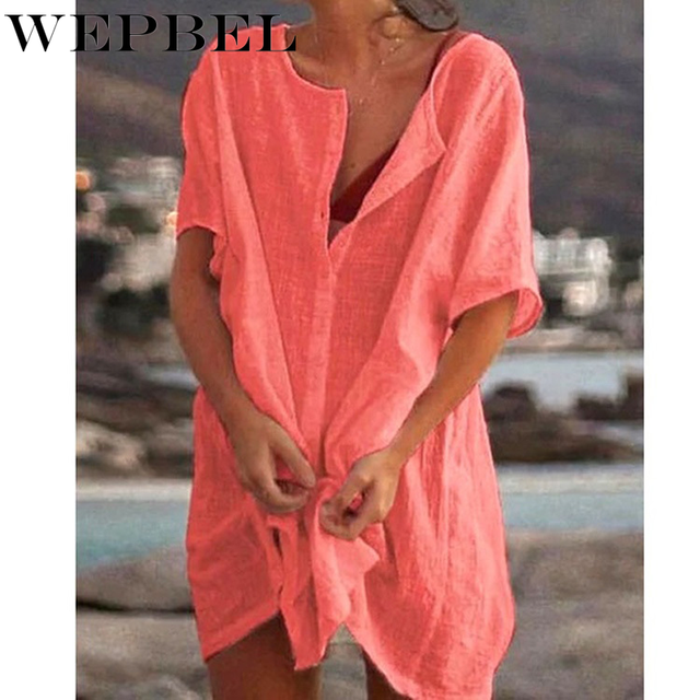 WEPBEL Womens Fashion Summer Short Sleeve Long Blouses Casual Loose Solid Color Plus Size Beach Wear Cover-up Short Linen Blouse 2