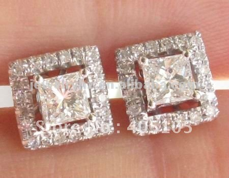 Solid Gold 14ct Whole 3 5mm Princess Cut Semi Mount Earrings Studs