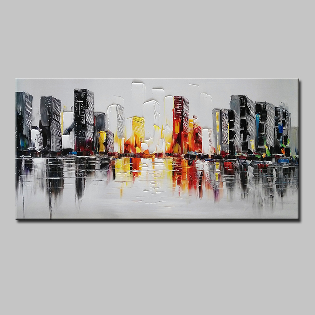 Mintura Hand Painted Impasto Abstract Color Building Canvas GrayOil Painting Wall Picture Living Room Bedroom Home Wall Decor