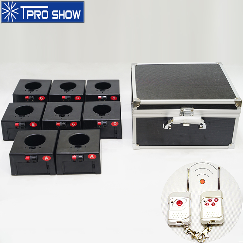 Mini Cold Fire Fountain Remote Control System Base 8 Cues 4 Groups Pyrotechnics Wireless Machine Flight Case For Indoor Wedding