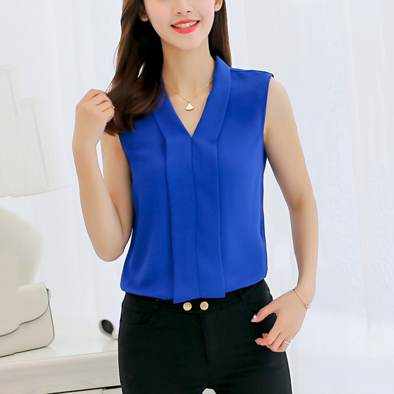 Summer Female   Blouse     Shirts   Fashion Fresh Women   Blouse   Solid Casual Female Sleeveless V-neck   Shirt   Tops Blusas