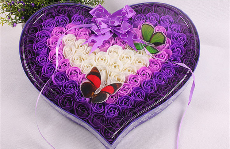 100 PC 냄새가 좋은 종이 2 Buttferfliers와 장미 꽃 목욕 비누 결혼식 선물 심장 모양 장미 꽃 선물 발렌타인 데이