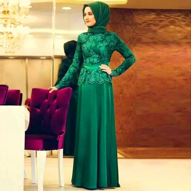 9e1ecf39ab7 Формальное Кружева Длинным Рукавом Мусульманское Вечернее Платье Хиджаб  Турецкий Макси Абая Дубай Кафтаны Исламская Одежда Для