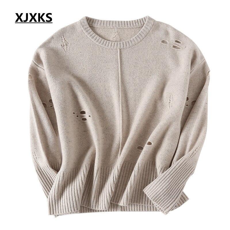 Conception Lâche Xjxks Gris Pull Vêtements Swetry Jeunes Dames Automne kaki Trou Surdimensionné Femmes Damskie Originalité Chandail BzBwf